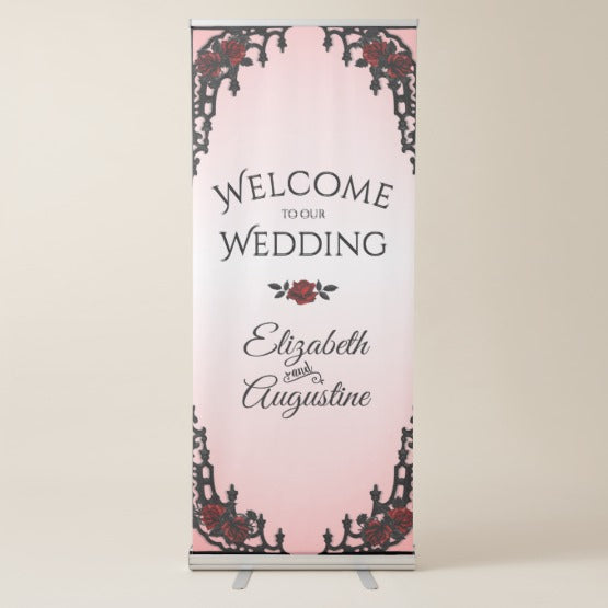 Red Rose Gothic Retractable Banner