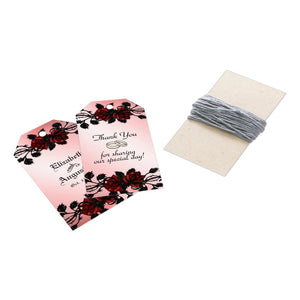 Red Rose Gothic Wedding  Personalized Champagne Gift Tags