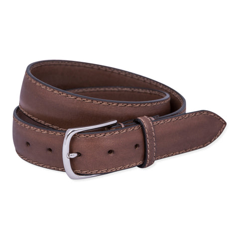 Belt Paolo Vitale Padded Leather Double Stitch Lightbrown