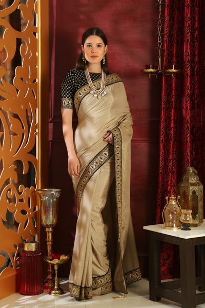 RR4106 Cocktail & Party Wear Beige Black Silk Velvet Saree