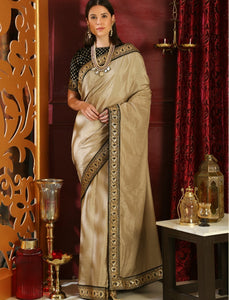 RR4106 Cocktail & Party Wear Beige Black Silk Velvet Saree by Fashion Nation