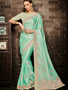 Nakkashi NAK4134 Beautiful Rama Green Muslin Satin Silk Jacquard Saree by Fashion Nation