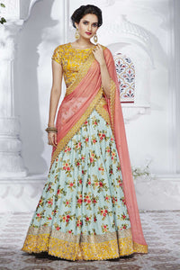 Beautiful NAK5089 Bridal Blue Peach Yellow Silk Satin Chiffon Lehenga Choli - Fashion Nation