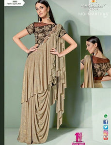 Sizzling MOH5303 Cocktail Wear Beige Brown Lycra Net Silk Indo Western Saree by Fashion Nation