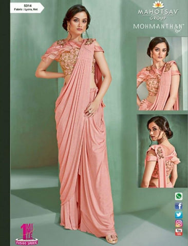 Beautiful MOH5314 Cocktail Wear Pink Lycra Net Silk Indo Western Saree - Fashion Nation