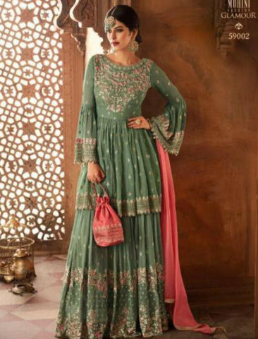 Mesmerizing Indo Western GLA59002 Green Pink Georgette Silk Sharara Suit by Fashion Nation