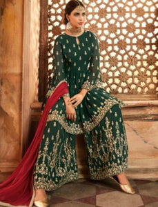 Marvellous Indo Western GLA59005 Green Maroon Georgette Silk Sharara Suit by Fashion Nation