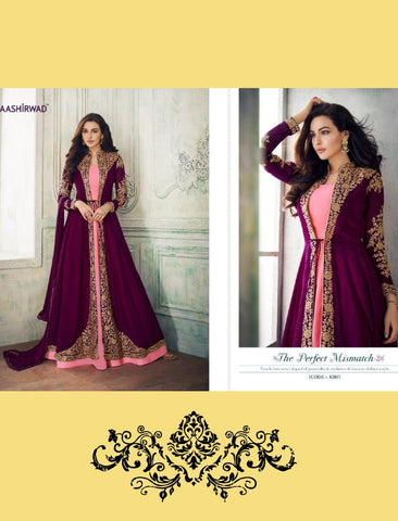 Royal Indo Western Pink Purple Georgette Silk Abaya Style Anarkali Suit with Long Jacket by Fashion Nation