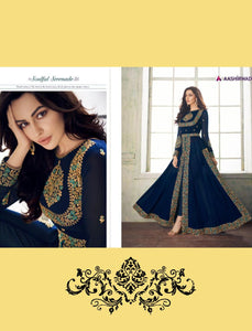 Party Wear 8206 Indo Western Blue Georgette Silk Anarkali Suit with Pants by Fashion Nation