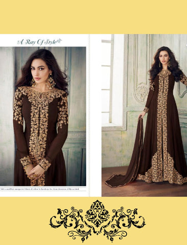 Cocktail Wear 8207 Indo Western Brown Georgette Silk Anarkali Suit with Pants by Fashion Nation