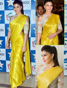 Jacqueline Fernandez KF3523 Bollywood Inspired Yellow Crepe Silk Saree by Fashion Nation