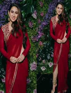 Sara Ali Khan KF3614 Bollywood Inspired Red Georgette Silk Saree by Fashion Nation