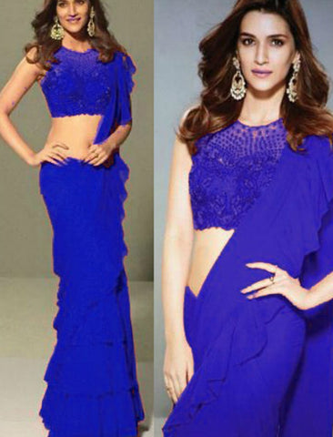 Kriti Sanon KF3632 Bollywood Inspired Blue Georgette Silk Net Ruffle Saree by Fashion Nation