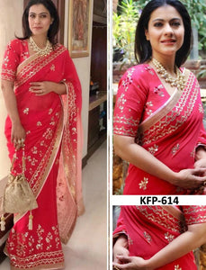 Kajol KF3666 Bollywood Inspired Red Georgette Silk Saree by Fashion Nation