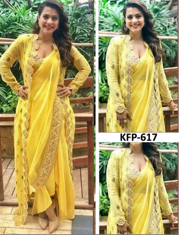 Kajol KF3716 Bollywood Inspired Yellow Georgette Silk Saree with Koti by Fashion Nation