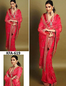 Deepika Padukone KF3721 Bollywood Inspired Red Georgette Silk Saree by Fashion Nation