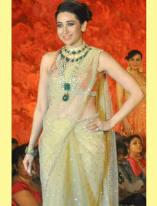 Karishma Kapoor Bollywood Inspired Beige Lycra Saree by Fashion Nation