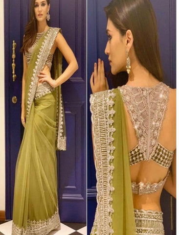 Kriti Sanon SF5537 Bollywood Inspired Green Net Saree by Fashion Nation