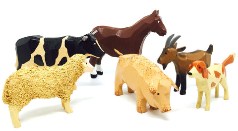 "Farm Animals Set 1 (6 pieces) - 1-5/8"" to 3""/ hand-carved / Size Large"