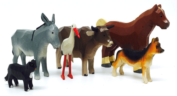 "Farm Animals Set 2 (6 pieces) - 1-1/4"" to 3""/ hand-carved / Size Large"