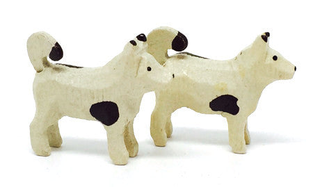 "Small Dogs, Pair of hand-carved - 3/4"" / Size Small"
