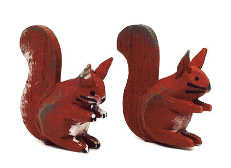 "Squirrels, Pair of hand-carved 7/8"" / Size Small"