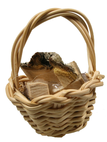 "Basket, Gathering with Wood - 1"" tall"