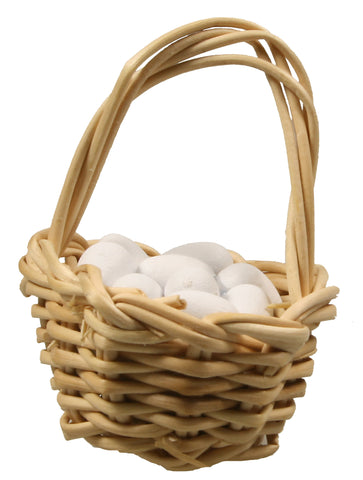 "Basket, Gathering with Eggs - 1"" tall"