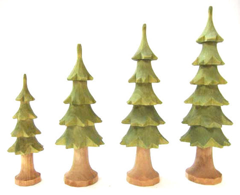"Set of 4 Hand-Carved Trees - 3-3/4"" to 6"""