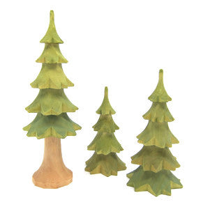 Set of 3 Hand-Carved Trees, 4-7""
