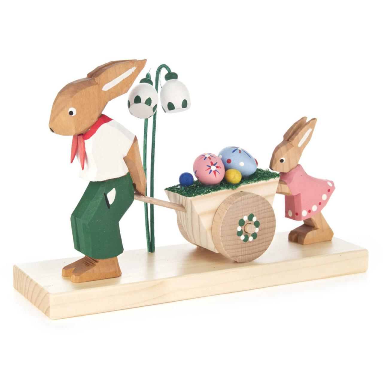 Father Rabbit with Easter Cart / Hand-carved