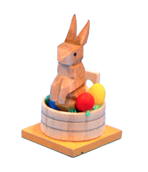 Rabbit in a Wooden Tub of Easter Eggs