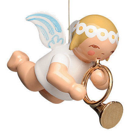 Small Flying / Suspended Marguerite Angel with French Horn - 1""