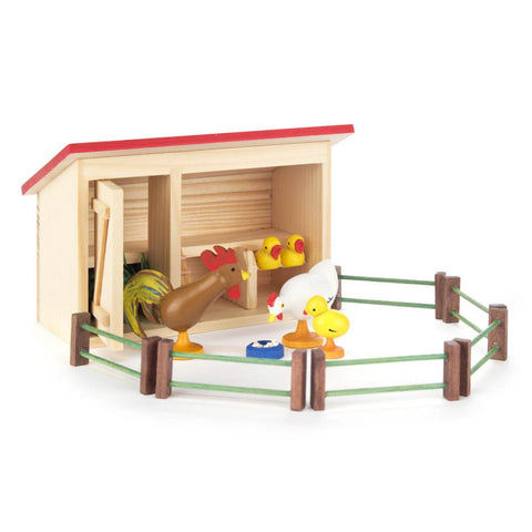 Hen House with Rooster, Hen, 3 Chicks and Fence