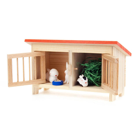 Small Rabbit Hutch with Three Rabbits