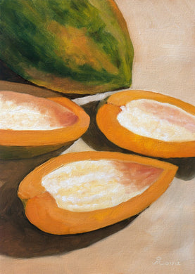 Oil painting of one full and one cut papaya.