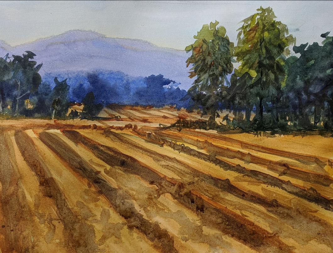 Landscape painting of a ploughed farm with some trees clusters and a distant blue mountain.