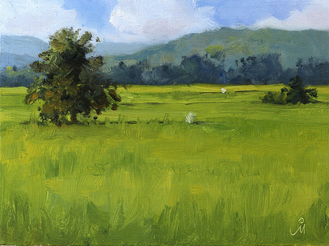 Landscape painting showing lush green rice fields, scarecrows, distant hills and blue sky with many white clouds.