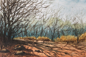 Landscape painting showing morning sun casting shadows of winter trees on a mud road.