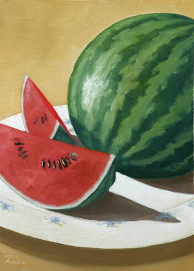 Oil painting of watermelon slices kept on a white plate.