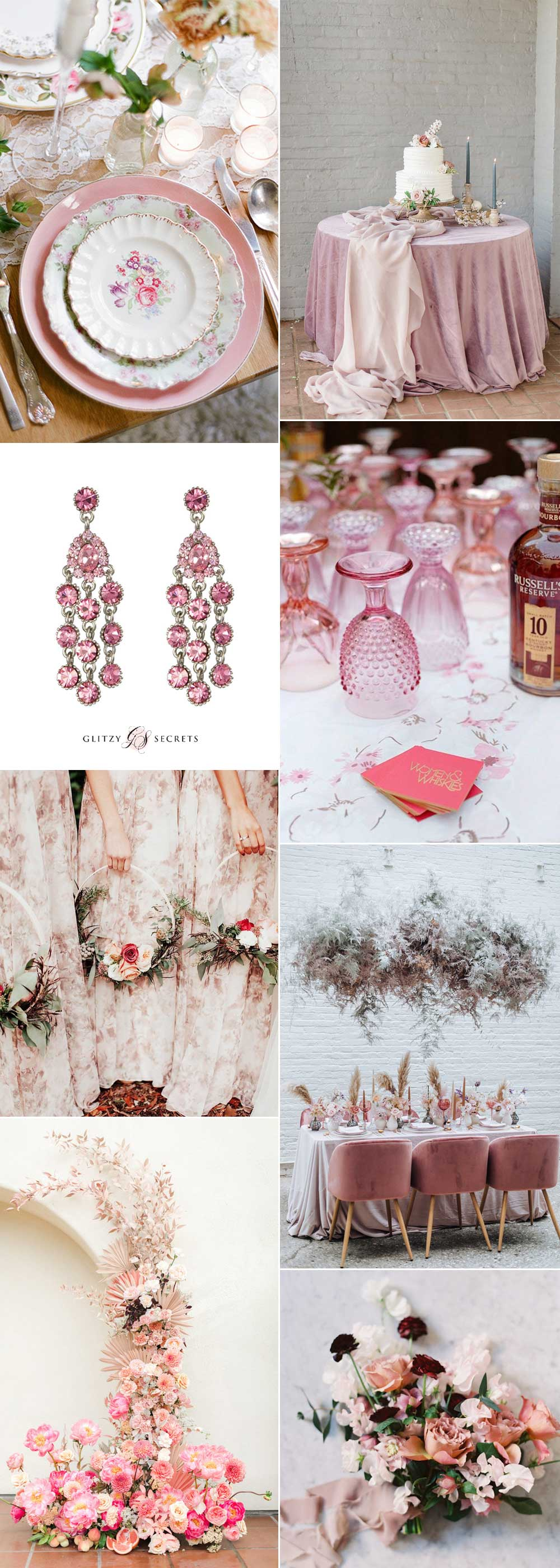 Inspiration using pink florals and vintage china for a spring wedding day