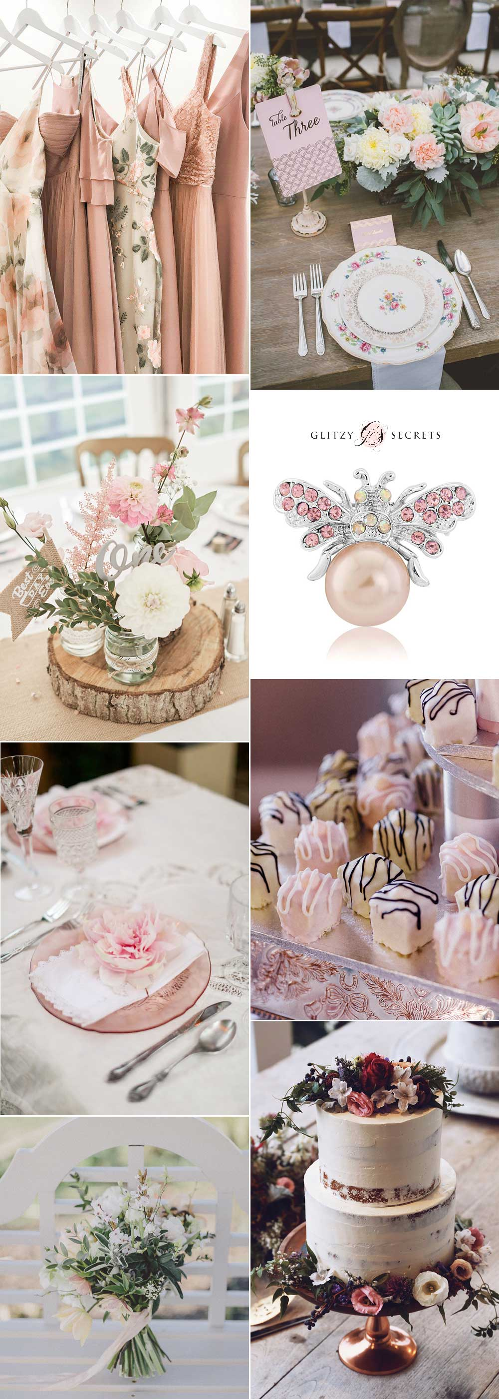 Pink and white vintage china wedding decor ideas