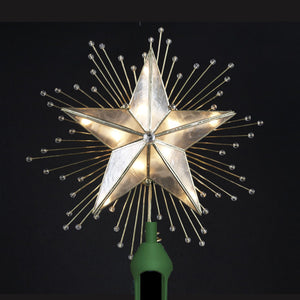 "PREORDER 10 "" Capiz Star with Rays and Beads Tree Topper UL3073"