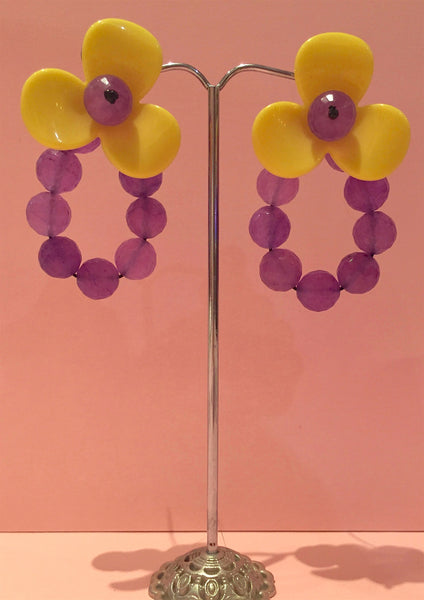 Flower With Beads Earring