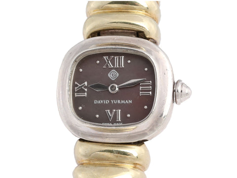 David Yurman Sterling Silver and 14K Yellow Gold Cable Watch