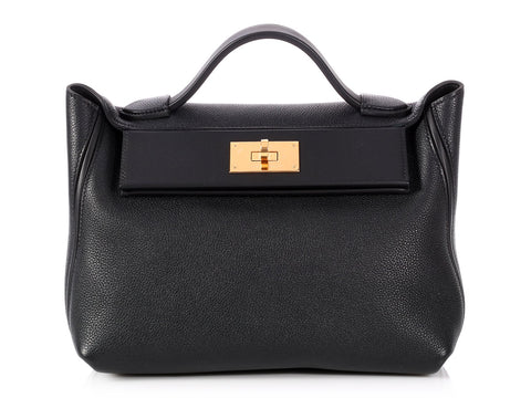 Hermès Black Taurillon Maurice and Swift 24/24 Bag 29