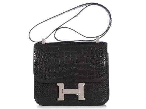 Hermès Black Matte Alligator Constance 24