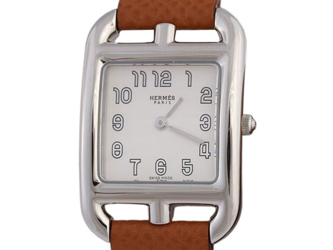 Hermès Stainless Steel and Gold Epsom Double Tour Ladies Cape Cod Watch 23mm