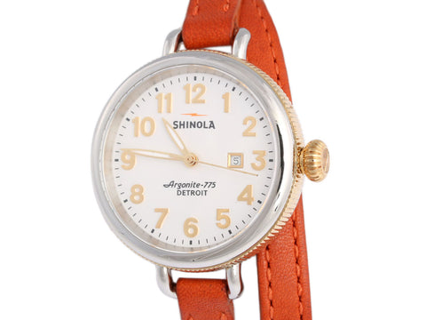 Shinola Two-Tone Double-Wrap Birdy Watch 34mm