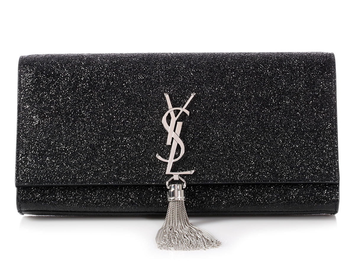 Saint Laurent Black Patent Monogram Kate Tassel Clutch